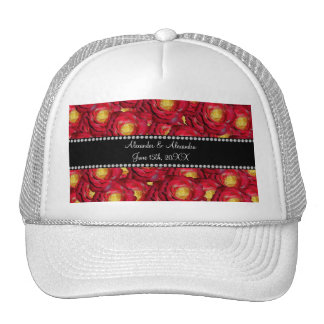 Wedding favors Red roses Mesh Hats