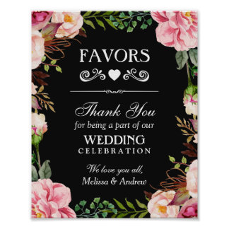 Wedding Favors Thank You Sign | Pink Floral Wreath Poster