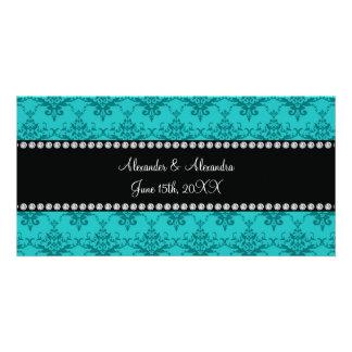 Wedding favors Turquoise damask Customized Photo Card