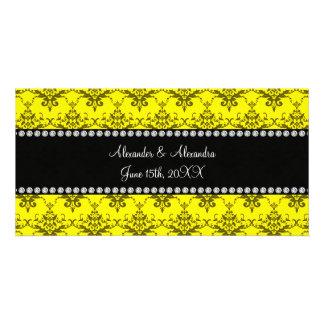 Wedding favors Yellow damask Photo Cards