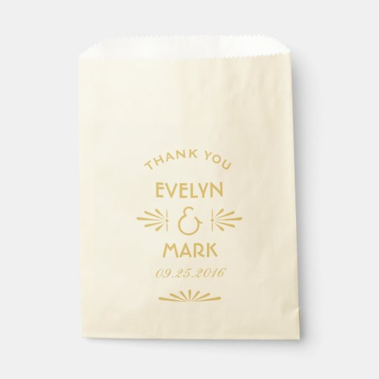 Wedding Favour Bags | Gold Art Deco