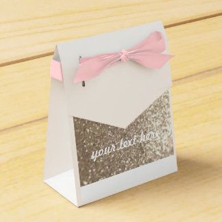 Wedding Favour Gold & Pink Customisable Gift Bag Favor Box