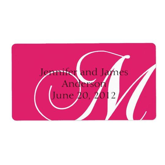 Wedding Favour Labels Pink Monogram M