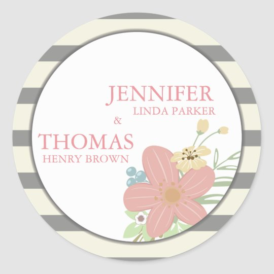 Wedding Favour Modern Floral Decor Thank You Card Classic Round Sticker