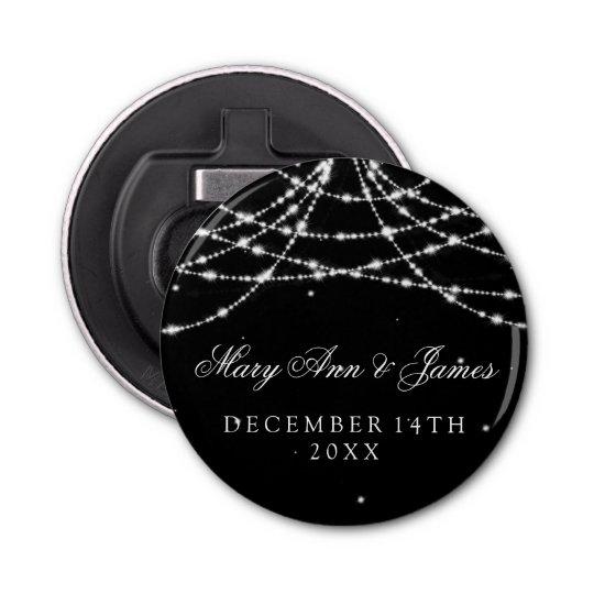 Wedding Favour Sparkling String Black Button Bottle Opener