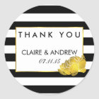 Wedding Favour Stickers | Black Stripe & Gold