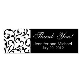 Wedding Favour Tag Black White Damask Double-Sided Mini Business Cards (Pack Of 20)