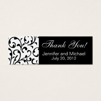 Wedding Favour Tag Black White Damask Mini Business Card