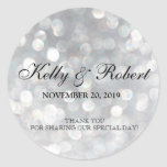 Wedding Favour Tag Elegant Silver Bokeh Lights Round Sticker