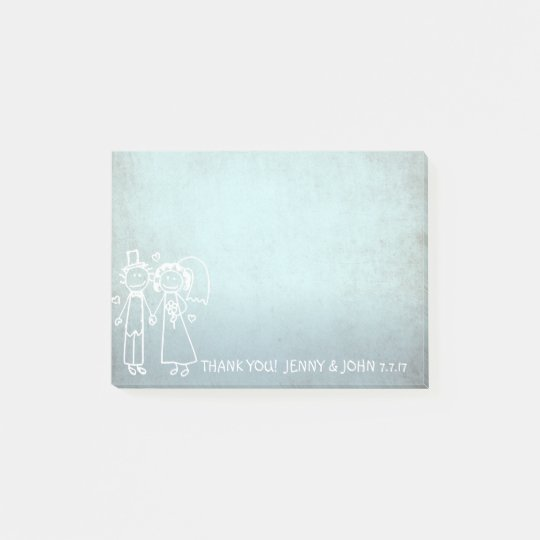 Wedding Favour Thank You Chalkboard Grungy Blue Post-it® Notes