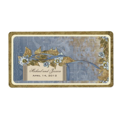 Wedding Favour Vintage Wine Label in Robin Blue Shipping Label
