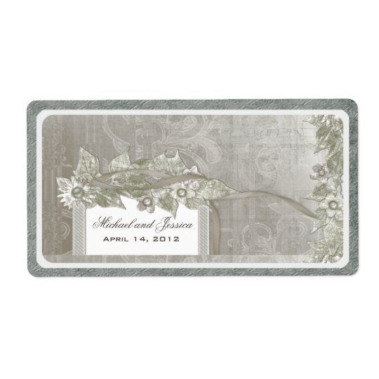 Wedding Favour Vintage Wine Label Silver Taupe