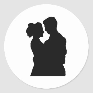 Wedding Favours - Couple silhouette Classic Round Sticker