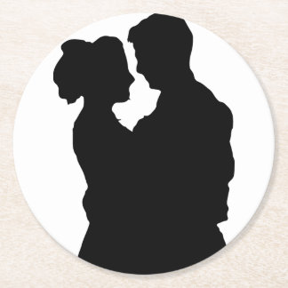 Wedding Favours - Couple silhouette Round Paper Coaster