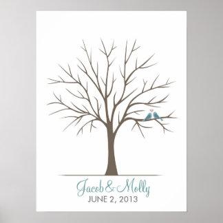Wedding Fingerprint Tree – Classic Love Birds Posters