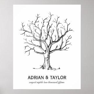 Wedding Fingerprint Tree Guestbook - B&W Poster