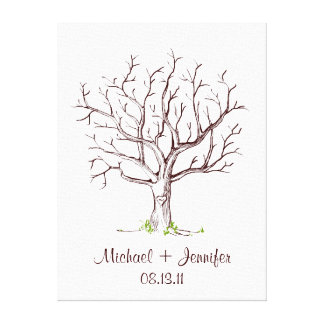 Wedding Fingerprint Tree Guestbook Gallery Wrapped Canvas