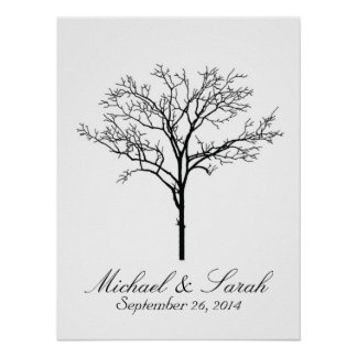 Wedding Fingerprint Tree Guestbook Poster