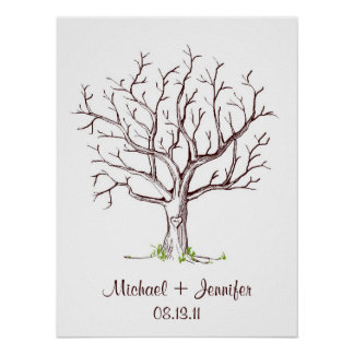 Wedding Fingerprint Tree Poster (Brown)