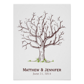 Wedding Fingerprint Tree Poster (No Heart)