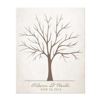 Wedding Fingerprint Tree – Rustic Canvas Print