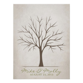 Wedding Fingerprint Tree – Rustic Posters