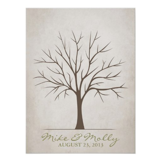 Wedding Fingerprint Tree – Rustic Posters