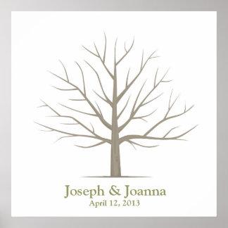 Wedding Fingerprint Tree - Square Poster