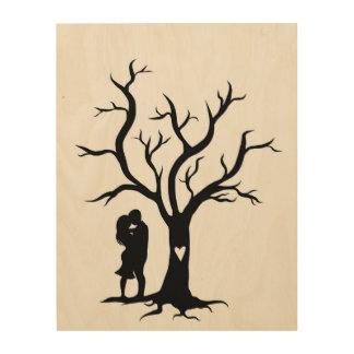Wedding Fingerprint Tree Wood Canvas