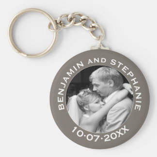 Wedding First Christmas Photo Custom Name and Year Basic Round Button Keychain