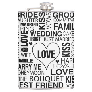 Wedding Flask Gift Marriage Words Groom
