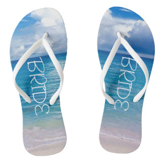 Wedding | Flip Flops | Bride Name |Blue Ocean