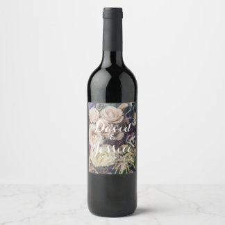 Wedding Floral Bouquet Wine Label