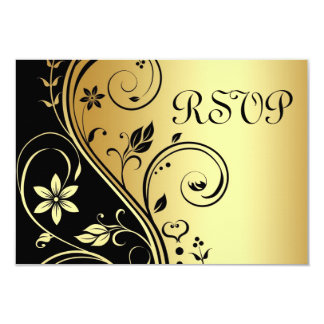 Wedding Floral Rsvp Black Gold Invitation
