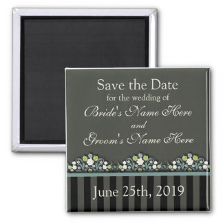 Wedding Floral Save The Date Square Magnet