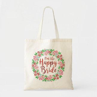 Wedding Floral Watercolor Cute Happy Bride Tote Bag