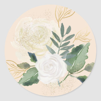 Wedding Floral Watercolor Design | Neutral Blooms Classic Round Sticker