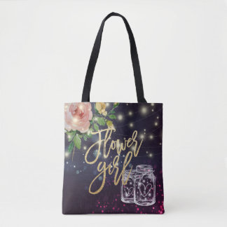 Wedding Flower Girl Floral Purple Mason Jar Lights Tote Bag