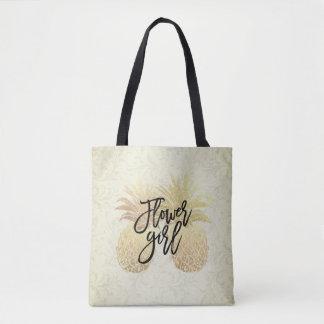 Wedding Flower Girl Vintage Gold Pineapples Couple Tote Bag