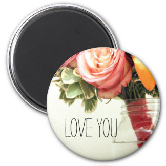 wedding flowers pink orange rose customize 2 inch round magnet
