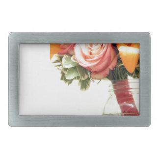 wedding flowers pink orange rose customize belt buckles