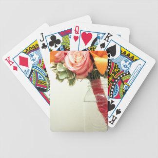 wedding flowers pink orange rose customize bicycle playing cards