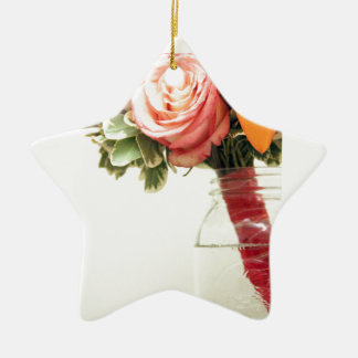 wedding flowers pink orange rose customize ceramic ornament