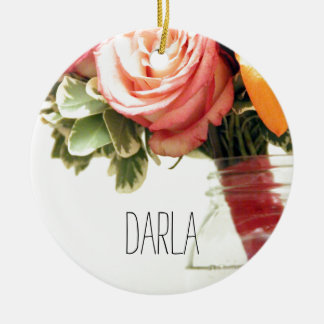 wedding flowers pink orange rose customize round ceramic ornament