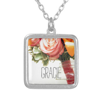 wedding flowers pink orange rose customize silver plated necklace