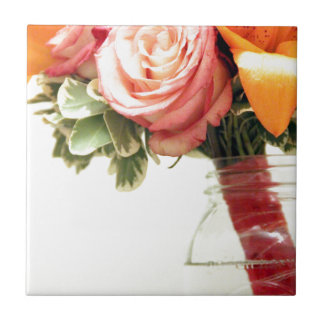 wedding flowers pink orange rose customize tile