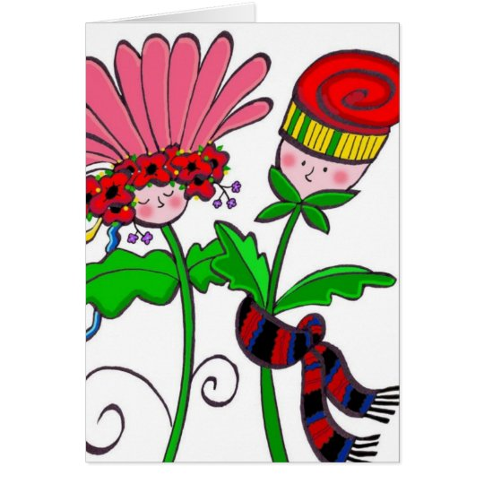 Wedding Flowers Ukrainian Folk Art Card