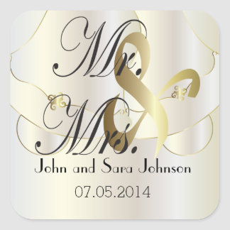Wedding for the Mr & Mrs | Personalize Square Sticker