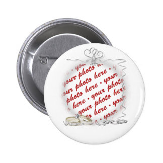Wedding Frame with Rings & Ribbons 2 Inch Round Button