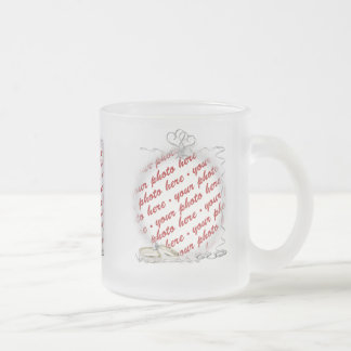 Wedding Frame with Rings & Ribbons Frosted Glass Coffee Mug